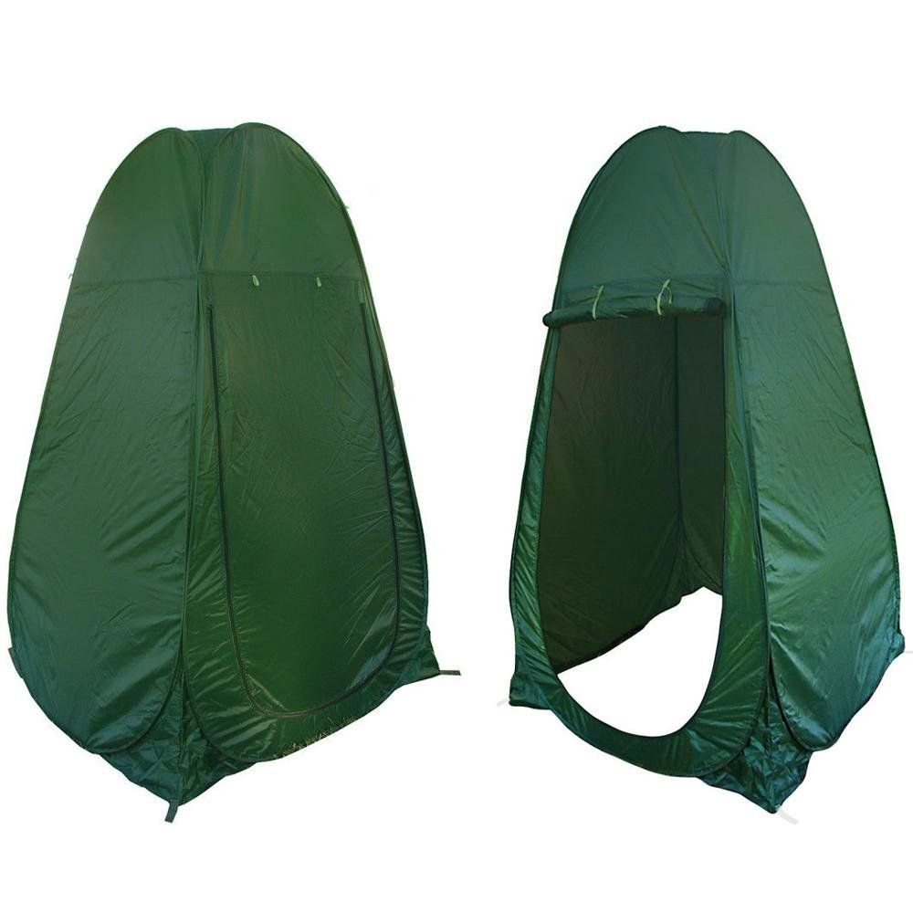The Tuff Stuff pop-up privacy tent can set up in just a couple of minutes- Simply unzip the included cover, deploy the tent-like a window shade and stake the tent down at all 4 corners.  The Tuff Stuff privacy tent includes an upper vent to keep the breeze coming through and 4 loops at every corner to secure the tent from blowing away in the wind.