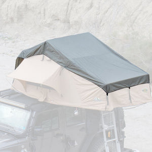 This is a replacement rainfly for the Tuff Stuff Overland rooftop tent. Designed to securely fasten to your Ranger, Delta or Elite rooftop tent, our rainfly will keep the rain from building up on top of your canvas tent fabric.  Includes the buckles to secure to the tent and is specifically made to fit your model Tuff Stuff Overland tent