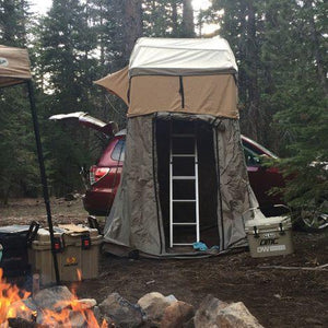 "The Tuff Stuff® ""Ranger"" Overland Roof Top Tent, 3 Person comes with FREE zip on Annex room included as a free gift (a $200 value!), PVC shoe storage bag and hanging gear hammock."