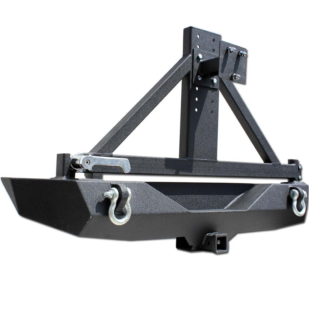 "64"" LONG (FROM TIP TO TIP) BLACK TEXTURED POWDER COATING 3/16"" (4.5mm) THICK PLATE STEEL CONSTRUCTION CLASS III RATED RECEIVER HITCH (tow up to 5,000 lbs) HOLDS UP TO 37"" SPARE TIRE GREASABLE ZIRK FITTING FOR SMOOTH TIRE CARRIER OPERATION ALL HARDWARE INCLUDED"