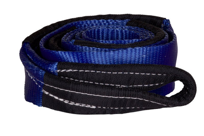 The Tuff Stuff® recovery strap is made from high quality, high capacity blue polyester webbing with reinforced end loops, making it safe to attach to any surface of the vehicle or recovery point. All Tuff Stuff recovery straps resist UV radiation, water, mold and extreme temperature variation which provides an incredibly long service life.