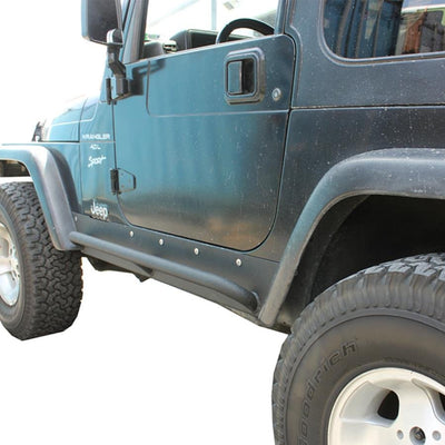 "3/16"" PLATE STEEL RUNNER BASE 1 5/8"" DIAMETER TUBE STEP FOR EASY ACCESS INTO THE JEEP TEXTURED BLACK POWDER COATING FOR A RUGGED FINISH (Can easily be touched up by bed liner spray paint) ALL STAINLESS HARDWARE INCLUDED MOUNTS FROM BODY MOUNTS USES 5 STAINLESS TAPERED HEAD BOLTS FOR BODY SUPPORT"