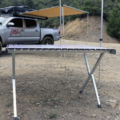 "43"" long when folded inside of carrying case 44""L X 28""W X 29""H Weighs 12Lbs Sets up & breaks down in 1-2 minutes Very sturdy Extremely lightweight Perfect for camping, tailgating, picnics or extra table space at home"