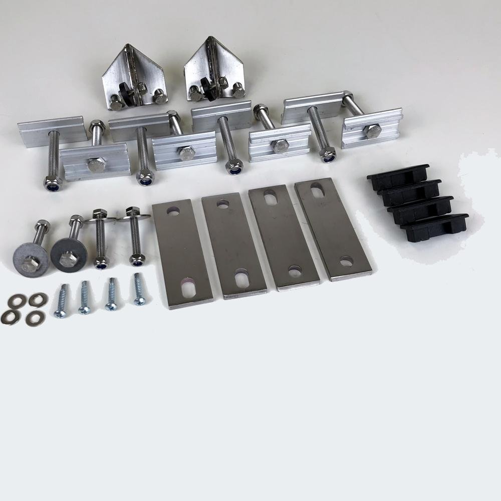 ALL T304 STAINLESS HARDWARE 4X LOWER PLATES 8X MOUNTING BOLTS (M8) 8X NUTS (M8) 2X LADDER PIVOT BRACKETS 2X LADDER MOUNTING BRACKETS 4X PLASTIC MOUNTING RAIL PLUGS