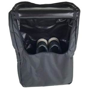 WATERPROOF PVC MATERIAL SLIDES IN AND HANGS NEXT TO THE LADDER EASILY FITS 2+ PAIRS OF SHOES PLUS A ROLL OF TOILET PAPER ZIPPER INCLUDED TO MITIGATE MOISTURE GETTING IN