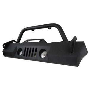 Tuff Stuff® Stubby Front Winch Bumper for the 07-18 Jeep® Wrangler JK.  **Also fits the Jeep Gladiator w/ minor trimming of the bumper on the left/right of the winch plate. Angle grinder/spray paint is required.  Winch sold separately.