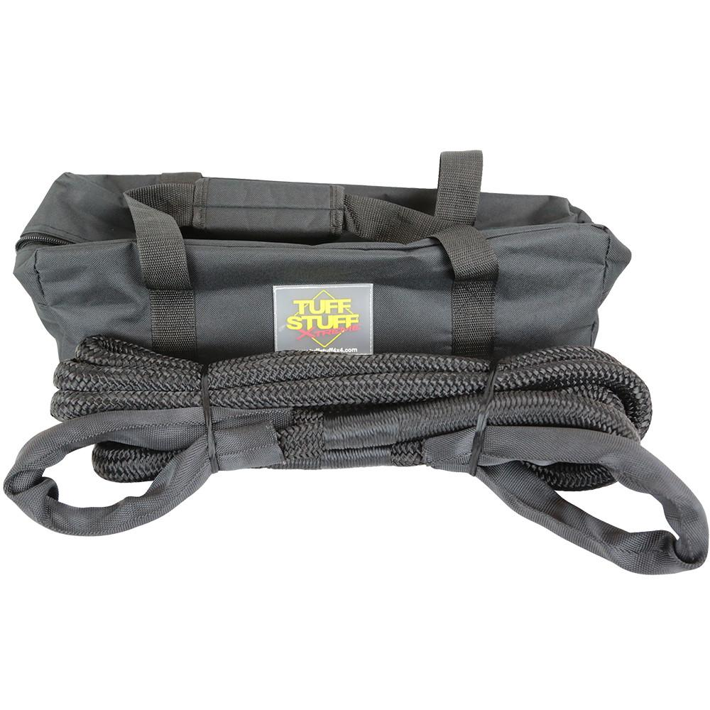 3/4 inch Thick 20 ft. Long 19,000 lb WLL (working load limit) 28,500lb breaking strength High quality, high capacity, heavy-duty material 30% stretch Reinforced chaif proof end loops with sleeves FREE Zippered handle bag included