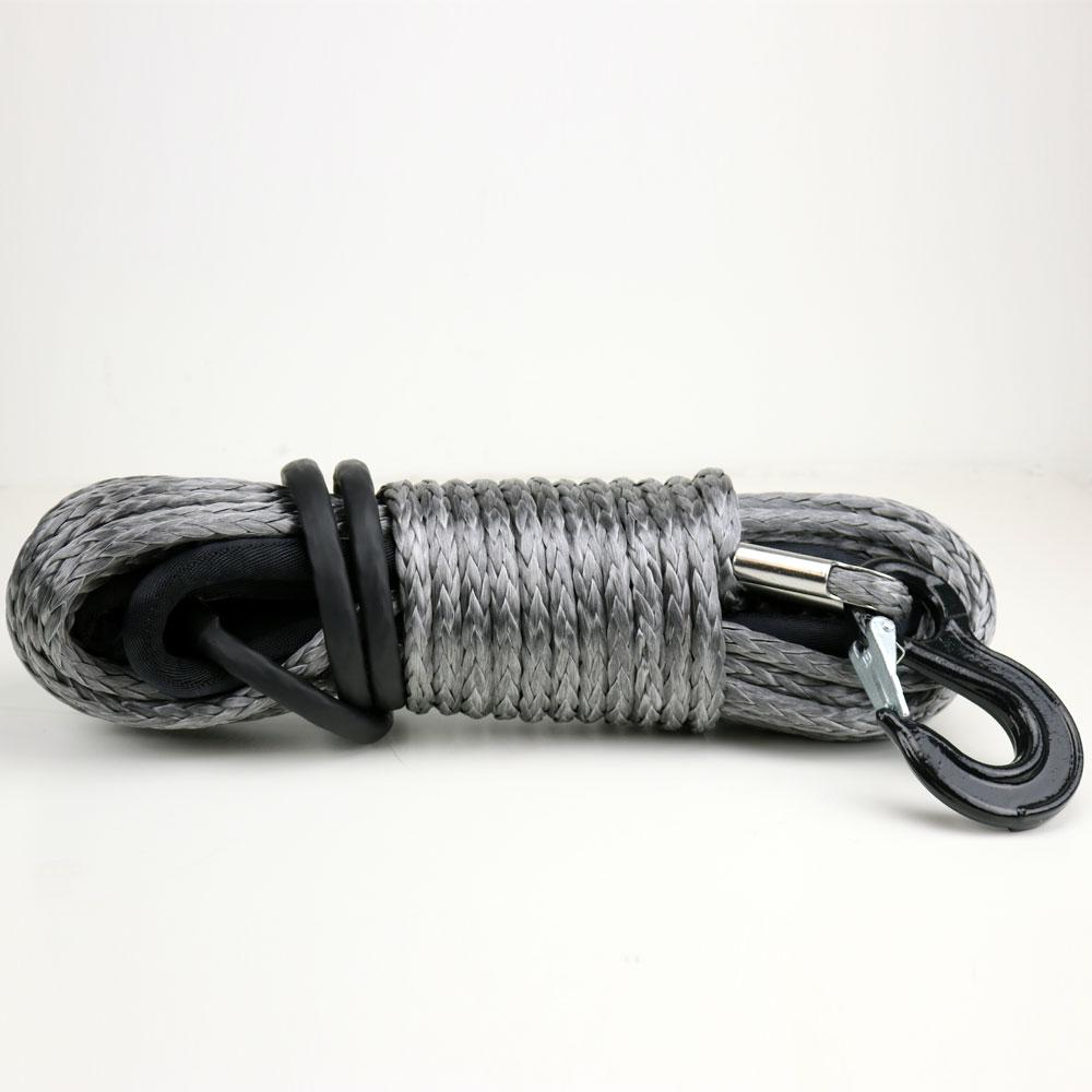 Tuff Stuff® Synthetic Winch Rope, Grey W/ Rock Guard, Black - Tuff Stuff 4x4 & Tuff Stuff Overland