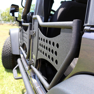 Light weight & allows a perfect breeze into the vehicle Reduces weight by approx. 75 Lbs. Location pre-drilled for mirrors Black texture powder coating for a stylish finish Latches and hangers included