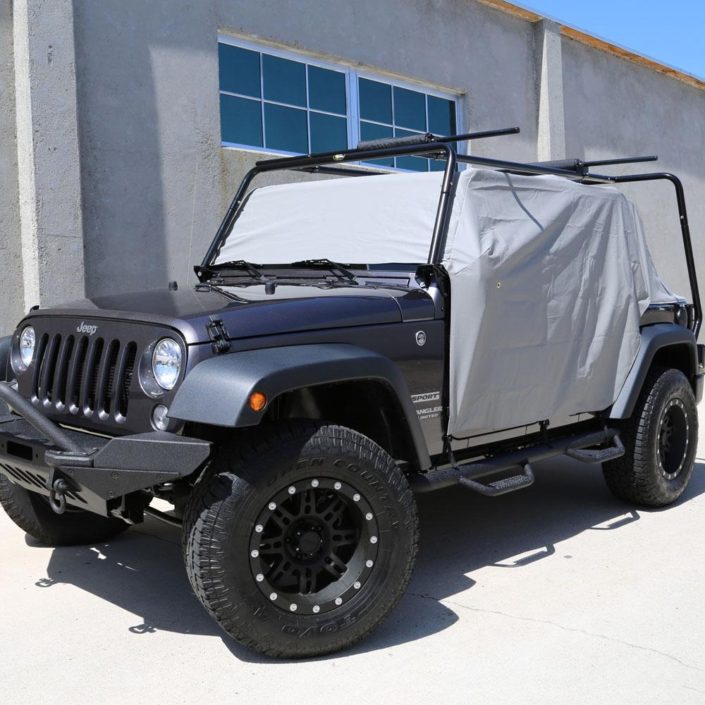 Adjustable straps for quick tightening fully waterproof material to protect from Rain, Wind, dust and sun Installs on all 2007-2018 Jeep®® Wrangler JK 2 Door model Protects interior while doors, top and windows are off Cannot be installed with hard or soft top on Included storage bag