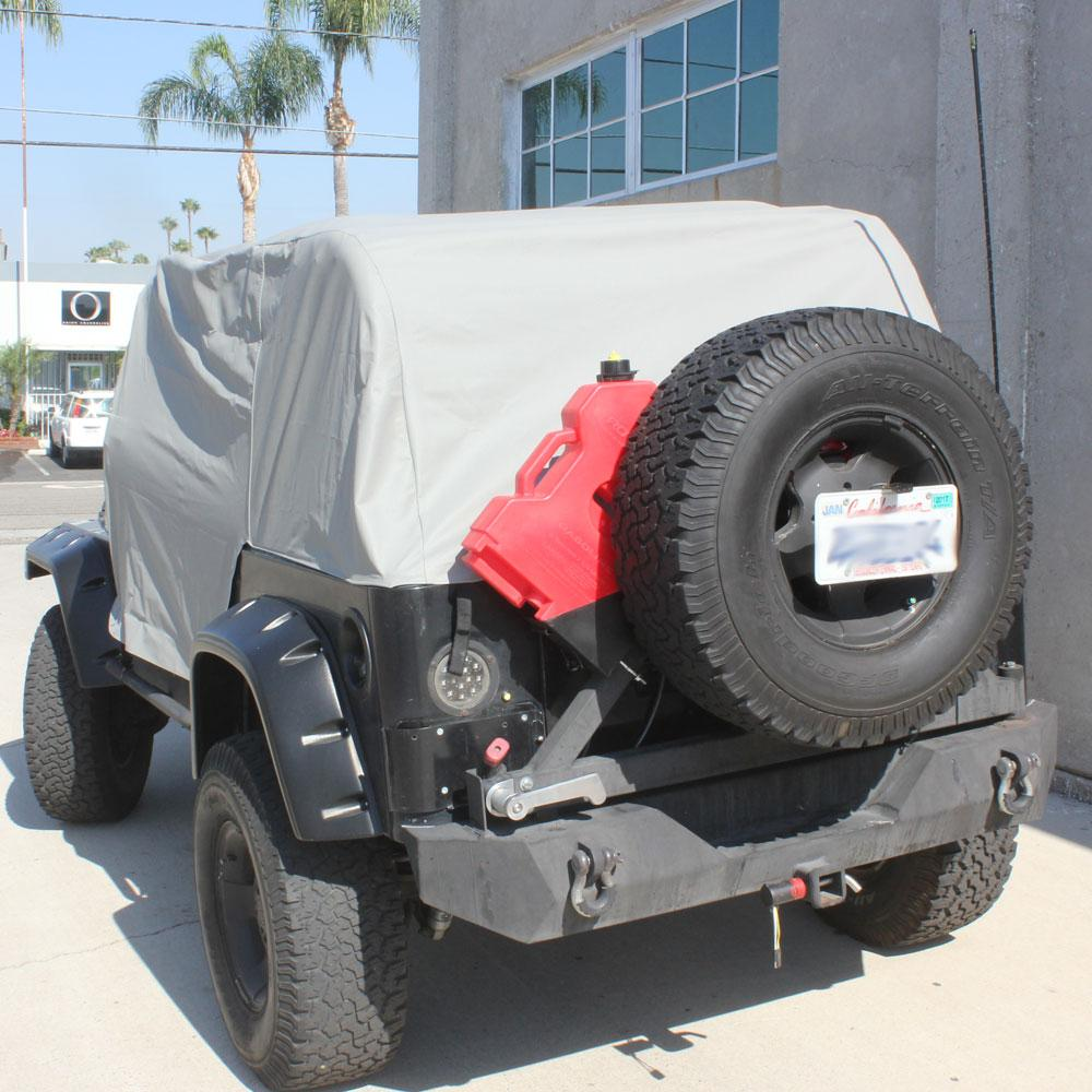 Adjustable straps for quick tightening Fully waterproof material to protect from Rain, Wind, dust and sun Installs on all 1992-1995 Jeep® Wrangler YJ's Protects interior while doors, top and windows are off Cannot be installed with hard or soft top on Included storage bag Can fit with roof mounted light bar