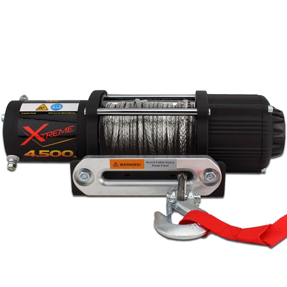 "4500lb winch 4,500lb capacity to recover most loads (Single line pull) Universal Mount: L: 7"" X W: 5,1/8"" X H: 2"" 50' of grey synthetic 3/16"" rope"