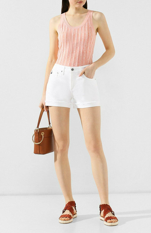 AG Adriano Goldschmied Jeans Ex Boyfriend Roll Up Shorts The Hailey Blanc Taille 25