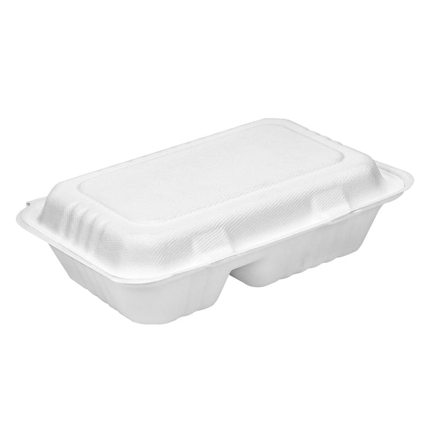 9 x 6 inch 2-Compartment Bagasse Sugarcane Pulp Hinged Container Clamshell