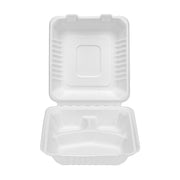 8 x 8 inch, 9 x 9 inch 3-Compartment Bagasse Sugarcane Clamshell