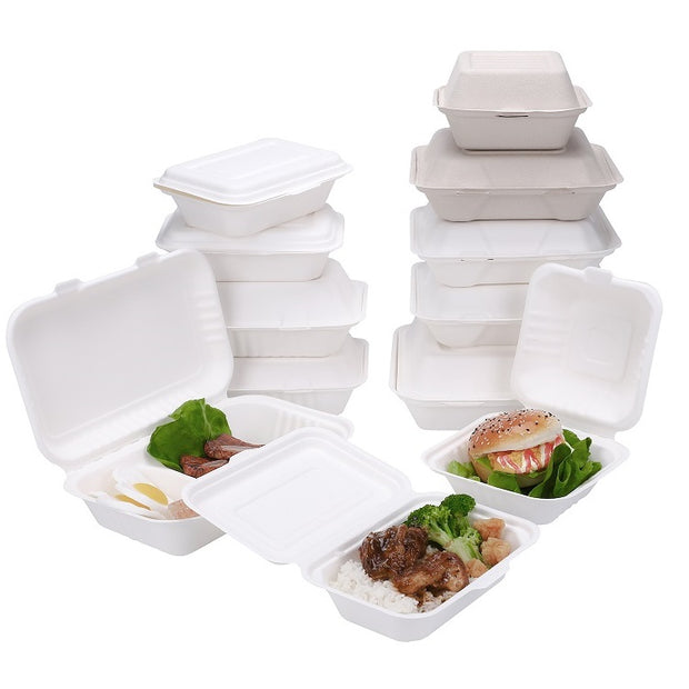 450ml Bagasse Sugarcane Molded Pulp Clamshell