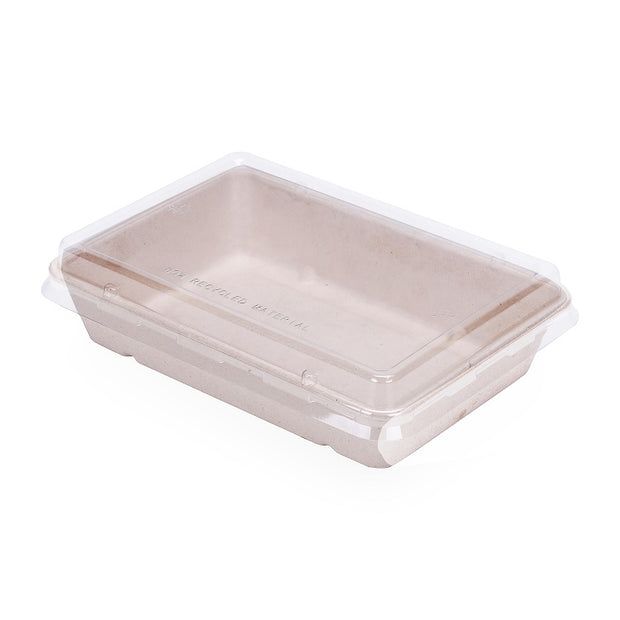 Biodegradable 28oz Bagasse Sugarcane Rectangular Container with PET Lid/PLA Lid