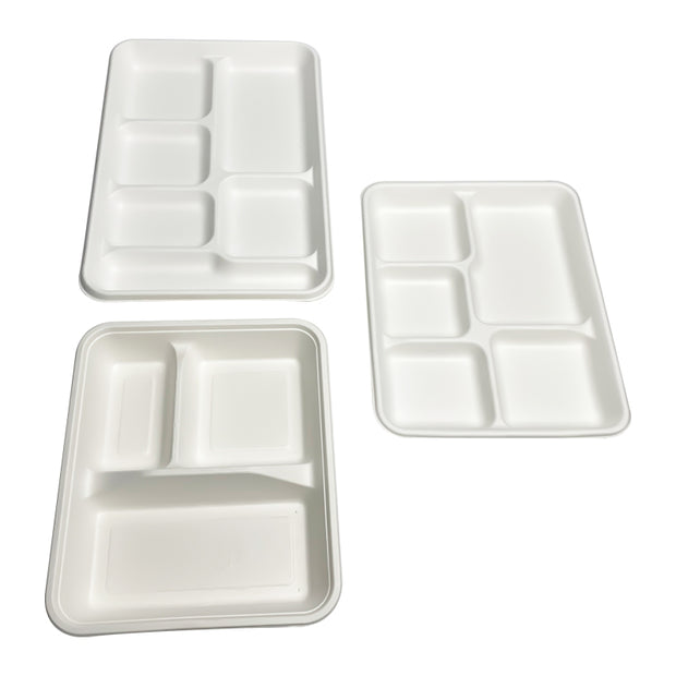 6 Compartment Compostable Bagasse Sugarcane Pulp Lunch Tray