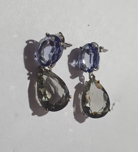 Cubic coloured stone earrings