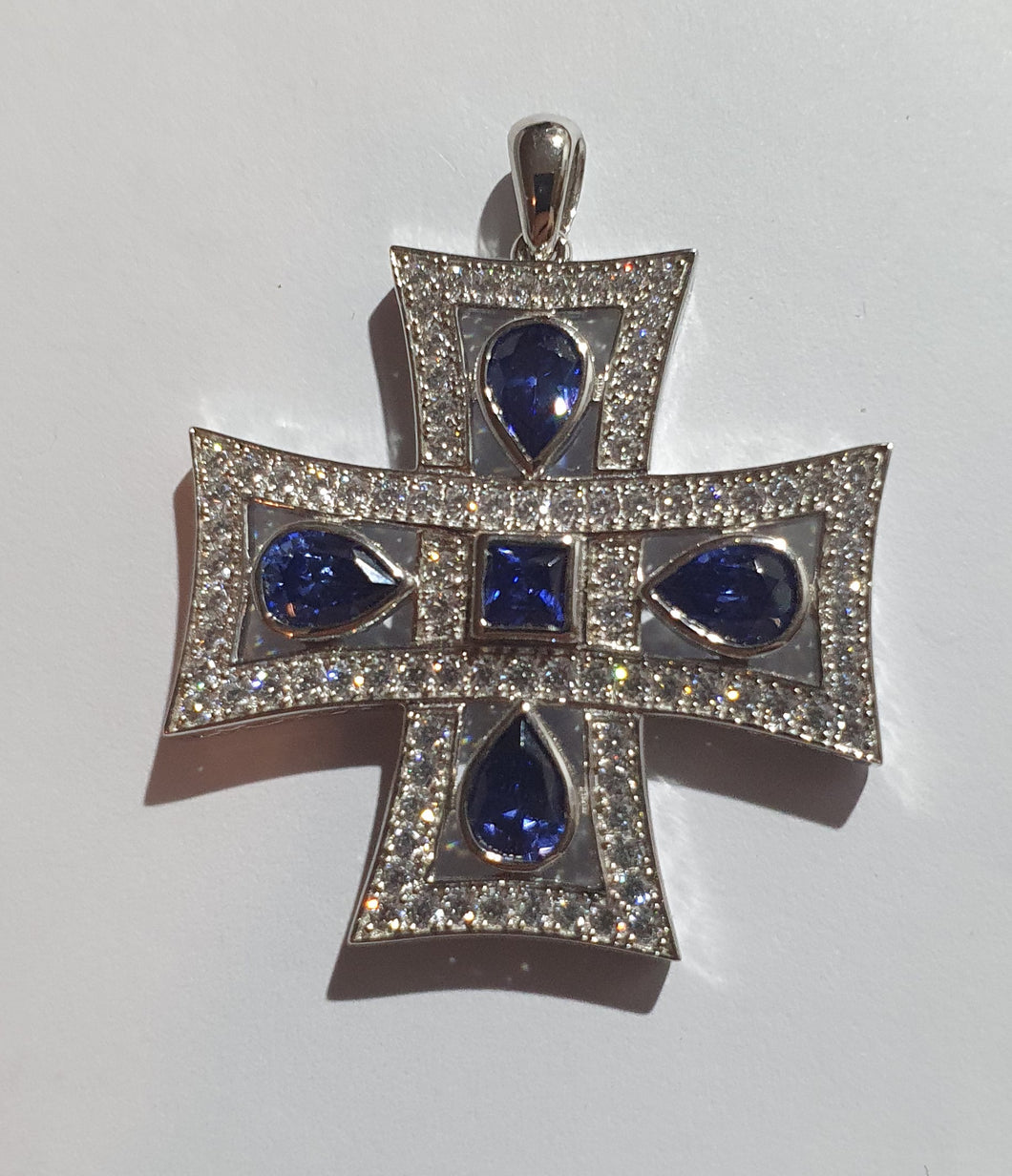 Silver and blue cubic cross