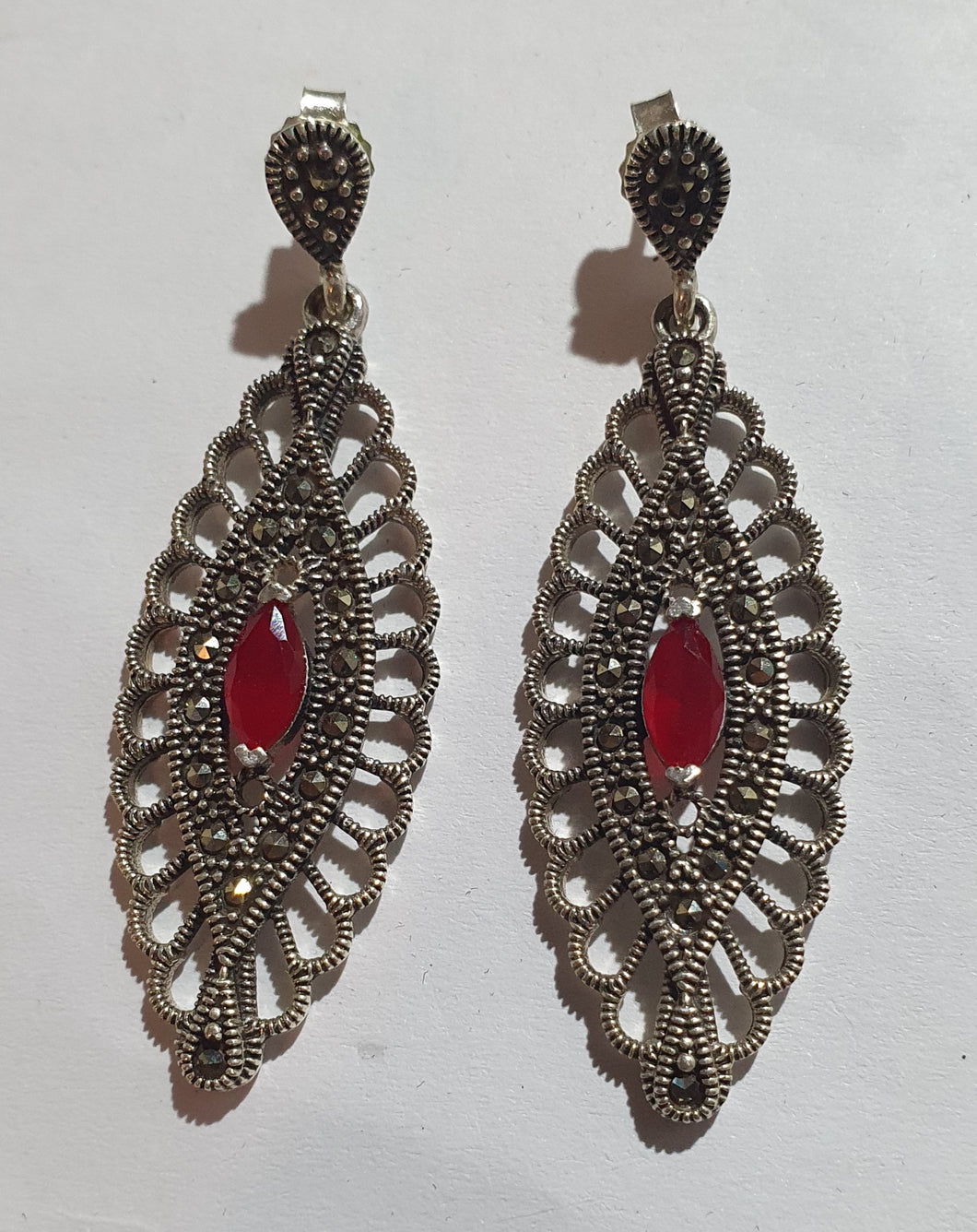 Silver marcasite earrings