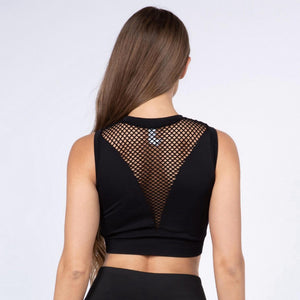 Mesh High-Neck Sports Bra