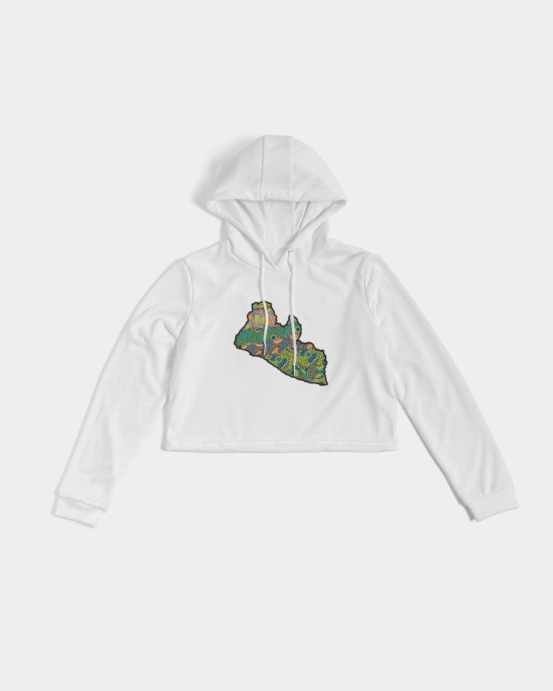liberia map Women's Cropped Hoodie
