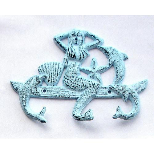 Cast Iron Mermaid Dolphin w/3 Hooks