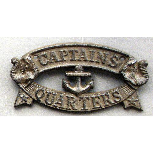 "Cast Iron ""Captain's Quarters"" Plaque"