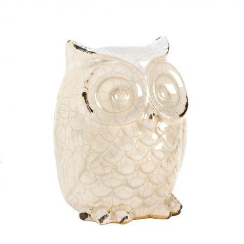 Wide-eyed Glazed White Owl Statue (pack of 1 EA)
