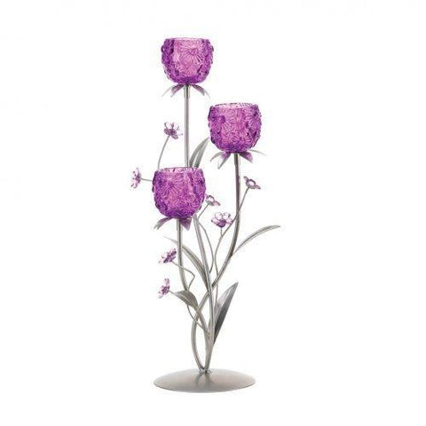 Fuchsia Blooms Candleholder (pack of 1 EA)