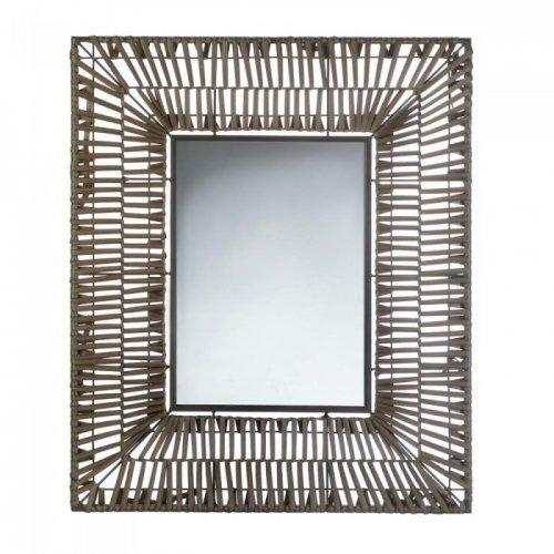 Faux Rattan Rectangular Wall Mirror (pack of 1 EA)