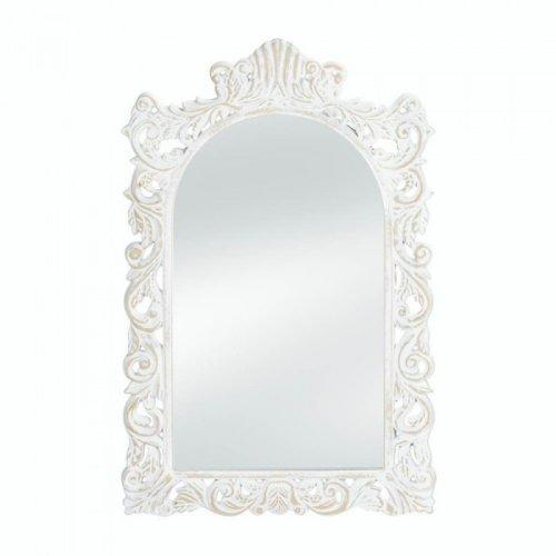 Grand Distressed White Wall Mirror (pack of 1 EA)