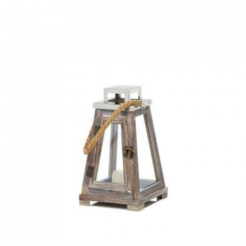 Small Pyramid Wooden Lantern With Rope (pack of 1 EA)