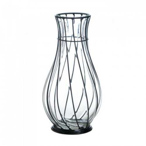 Short Glass And Metal Vase (pack of 1 EA)