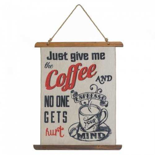 Give Me Coffee Linen Wall Art (pack of 1 EA)