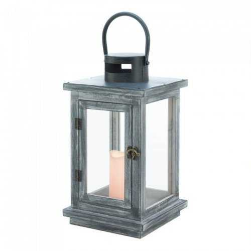 Distressed Gray Lantern With Led Candle (pack of 1 EA)
