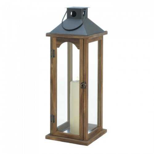 Large Simple Metal Top Wooden Lantern (pack of 1 EA)