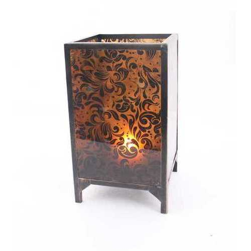 "18"" X 10.25"" X 10.25"" Brown Vintage Cuboid Candle Holder With Floral Pattern"