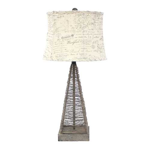 "29"" X 28"" X 7"" Tan Industrial Metal Table Lamp With Gentle Linen Shade"