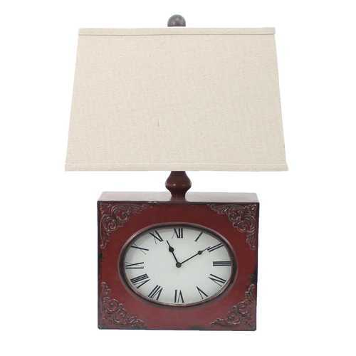 "22"" X 22"" X 7"" Red Vintage Table Lamp With Metal Clock Base"