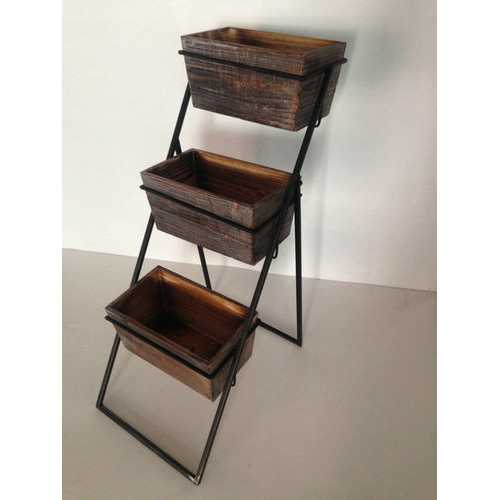 Brown 3 Piece Wood Planter