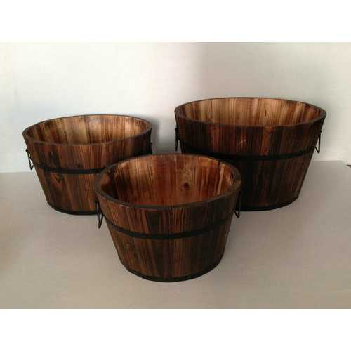 Brown 3 Piece Wood Garden Planter