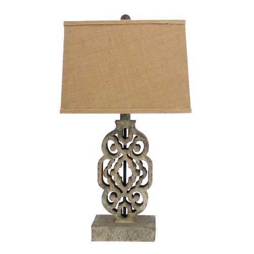 "28"" X 27"" X 8"" Brown Vintage Metal Floral Based Table Lamp"