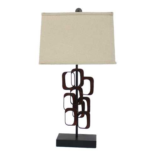 "31"" X 31"" X 8"" Bronze Contemporary Metal Accent Table Lamp"