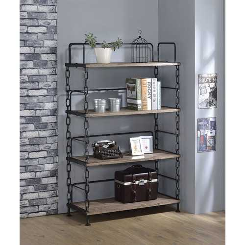 Bookshelf, Rustic Oak & Antique Black - Particle Board, Pvc Venee Rustic Oak & Antique Black