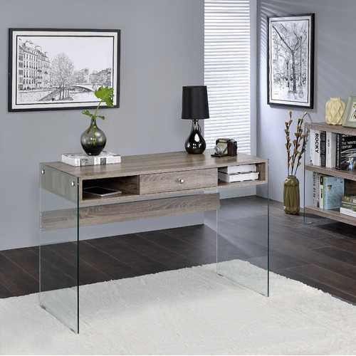 Bookcase In Clear Glass & Gray Oak - Glass, Pvc Veneer, Mdf Clear Glass & Gray Oak