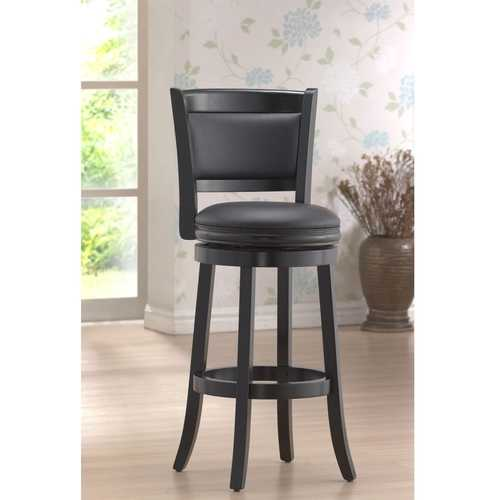 Black 29-inch Swivel Seat Barstool with Faux Leather Cushion Seat