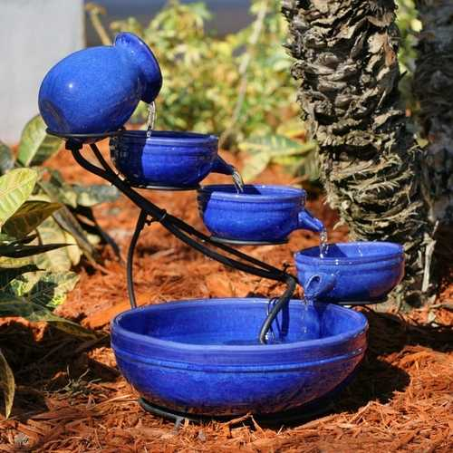 Blue Ceramic Outdoor Cascading Fountain Bird Bath with Solar Pump