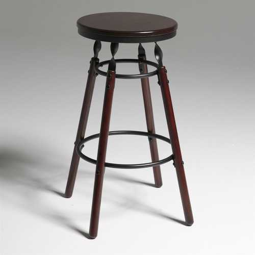 Dark Cherry Finish Wood Barstool with 30-inch High Seat